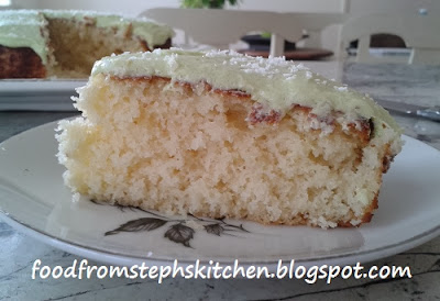 A slice of lime coconut cake - Steph's Kitchen