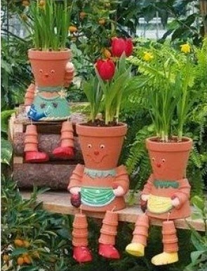 Easy way to make a Clay Pot Flower People
