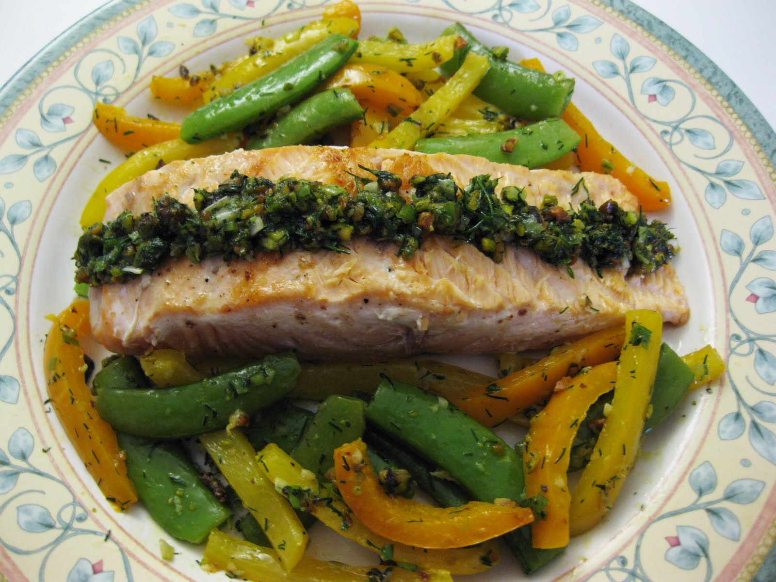 Salmon With Snap Peas, Yellow Peppers, And Dill-Pistachio Pistou ...