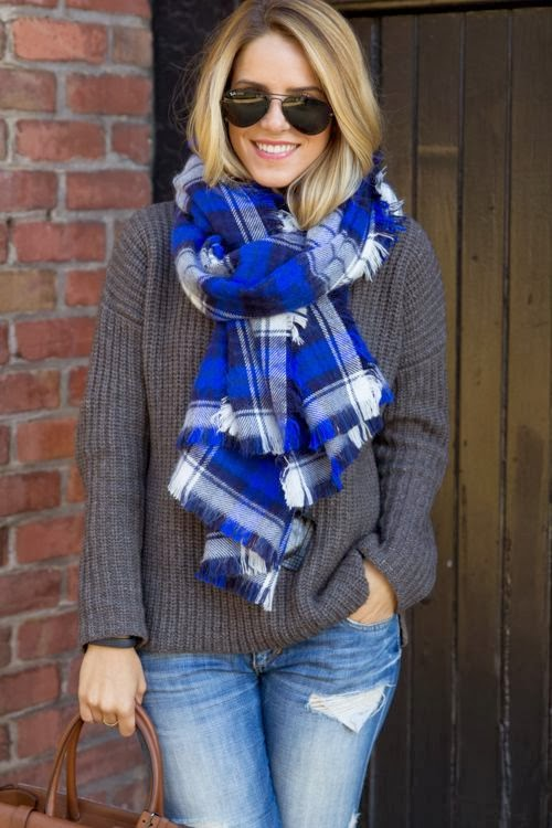 Oversized Grey Sweater With Cozy Plaids Scarf and Ray Bans