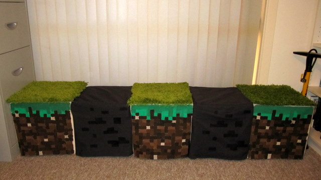 Minecraft-inspired window seat/stools