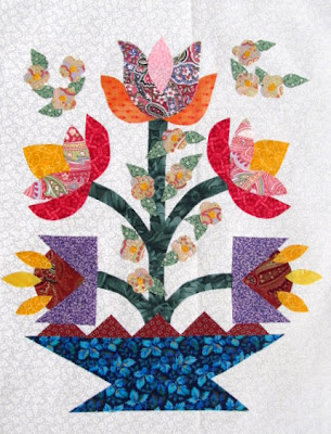 Triangle Basket Applique Quilt Pattern