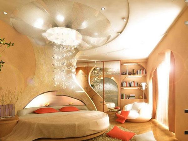 ديكور غرف نوم فاخرة مع تصاميم أسرة دائرية مذهلة