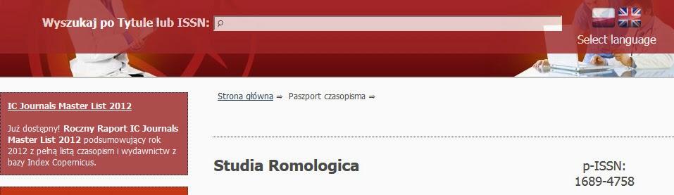 http://jml2012.indexcopernicus.com/Studia+Romologica,p5102,6.html