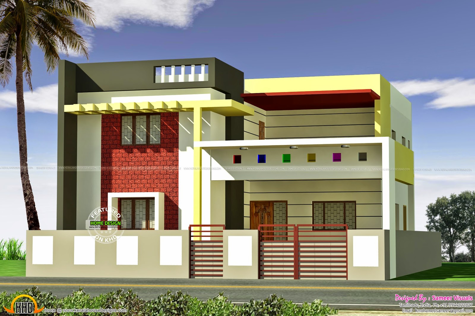Nice flat roof home 4 bhk house  Kerala design and floor plans