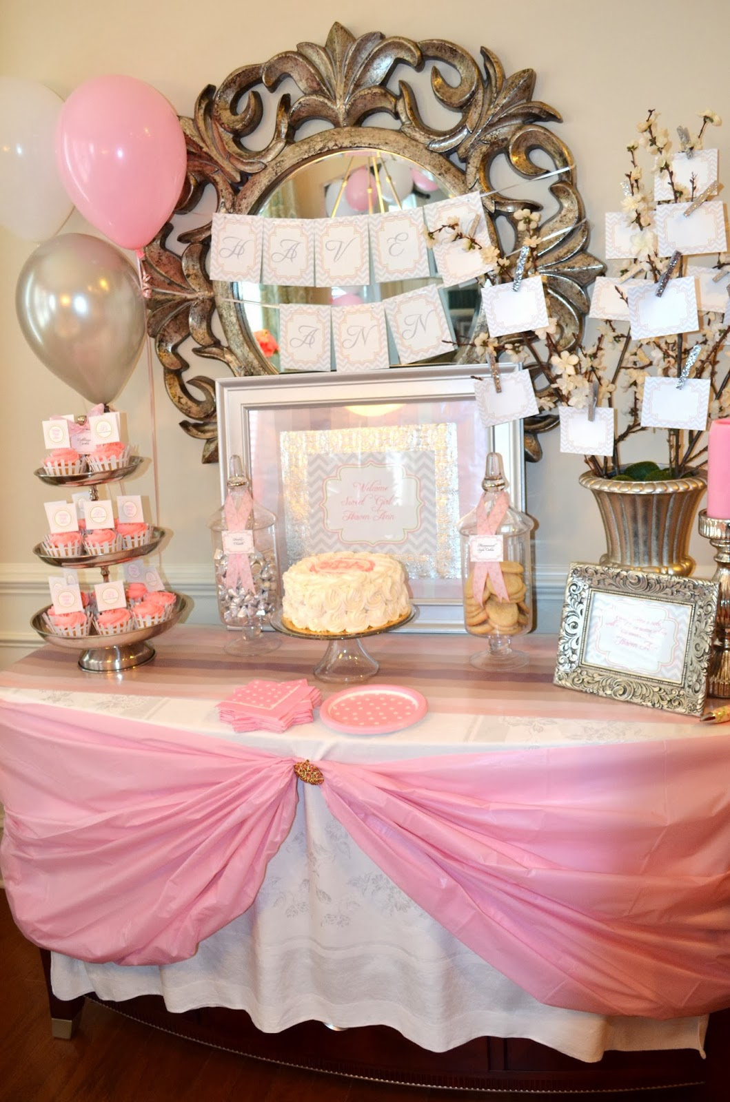 the theme included grey chevron with soft pink and silver