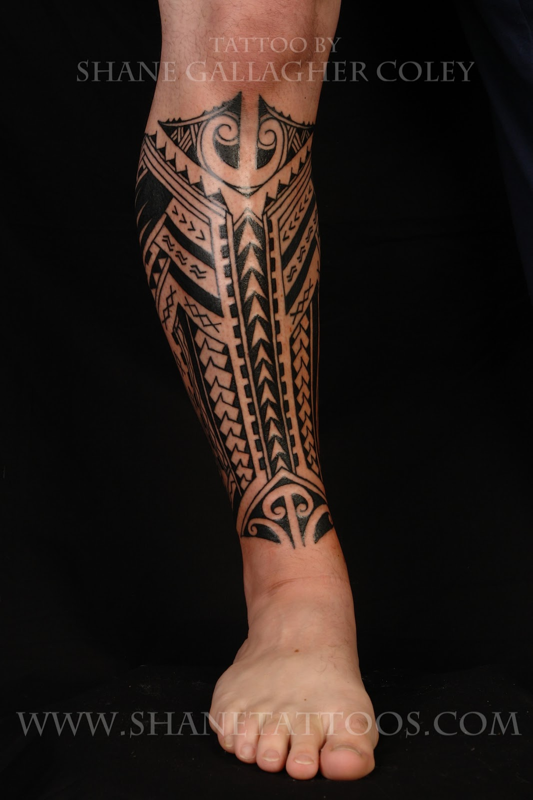 Polynesian Calf Tattoo Designs