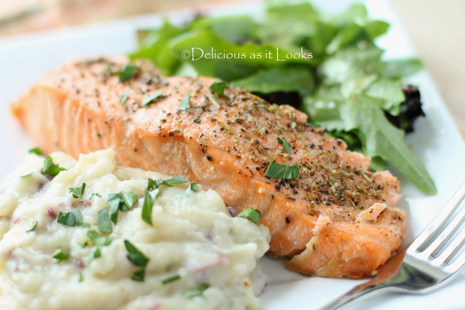 Garlic Oil & Rosemary Roasted Salmon  /  Delicious as it Looks