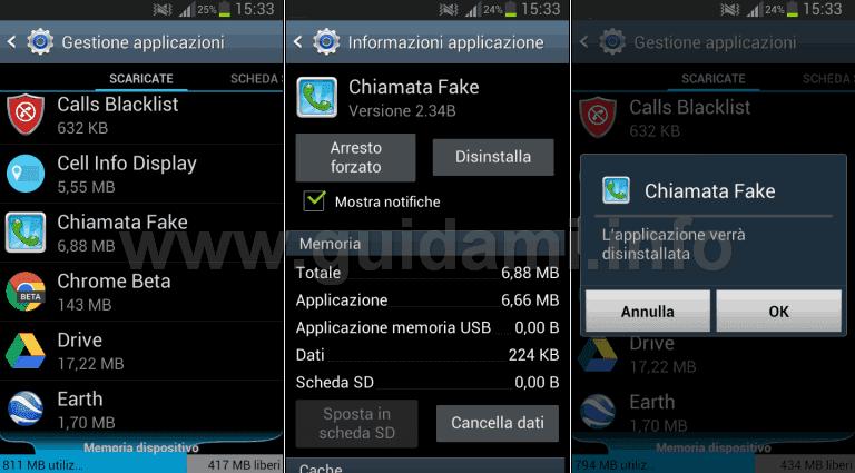 Disinstallare le app Android da Gestione applicazioni