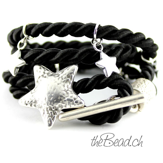 Armband STELLA in Schwarz mit Stern Verschluss Knebelverschluss