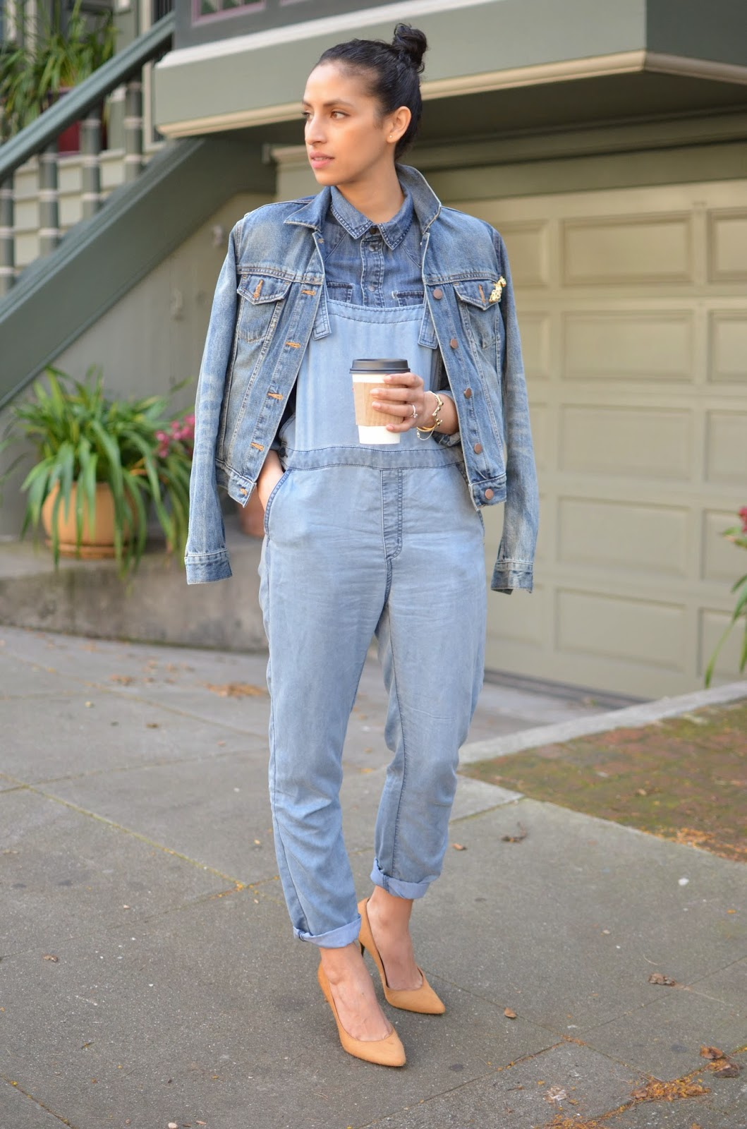 denim on denim, all denim, blue denim, how to wear all denim, how to style overalls, Obey Alexia overalls, Gap denim jacket, Madewell chambray denim top, 2 Bandits Peaking cuff