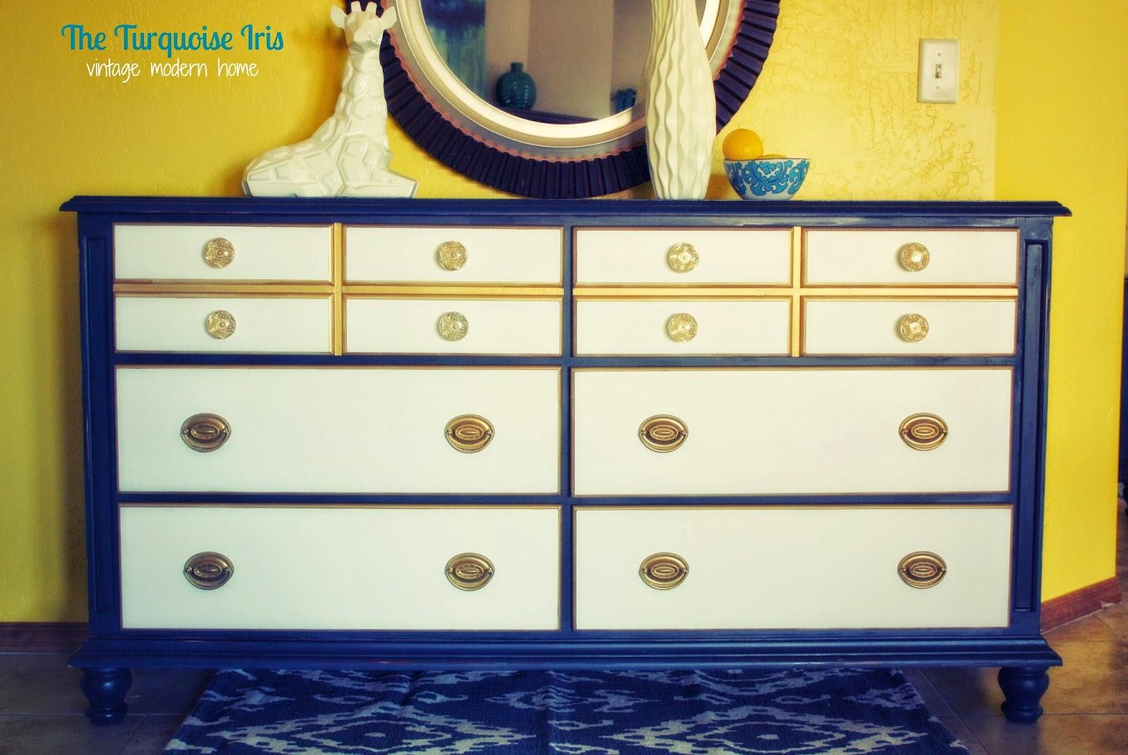 Navy Blue Gold White Vintage Dresser