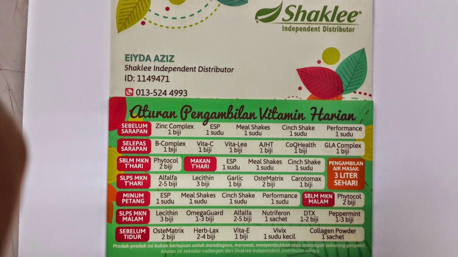 Jadual Pemakanan Vitamin Shaklee