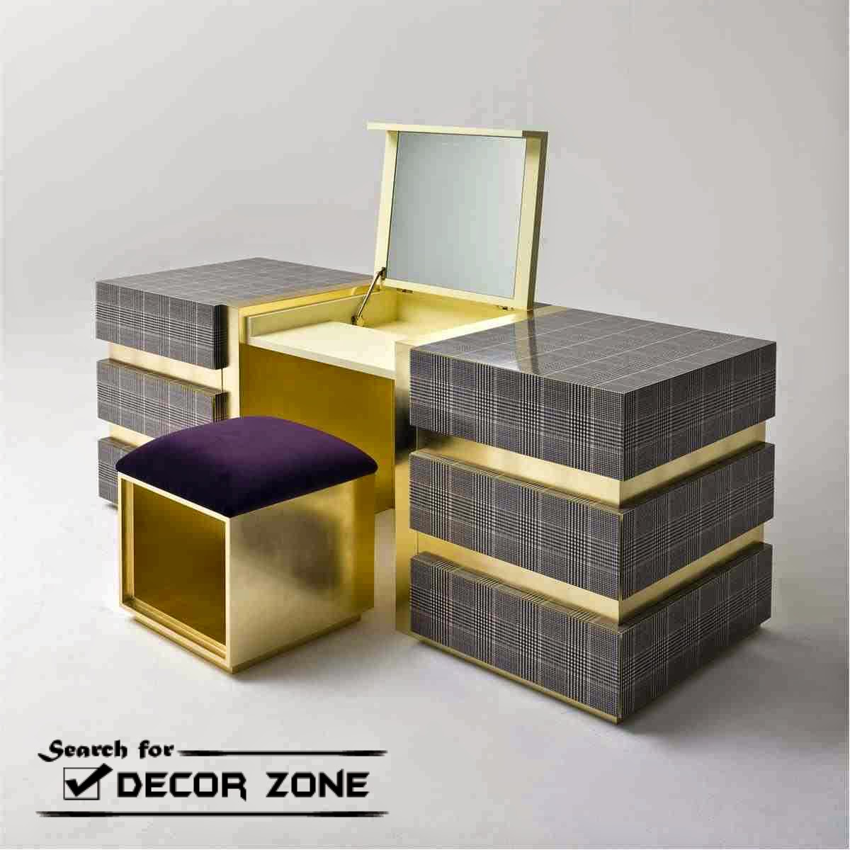 Modern dressing table with mirror - Modern Dressing Table With Mirror In Gray And Golden Combination