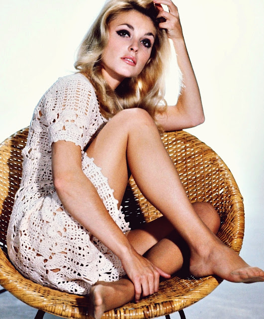 sharon tate in crochet knit dress, 1960s