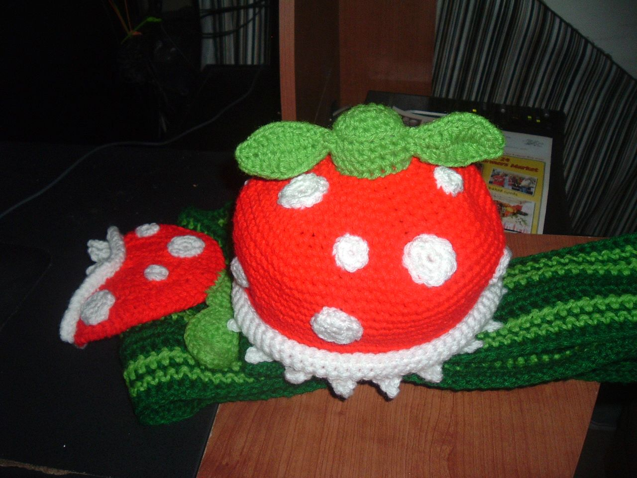 Nanette Crochet: Piranha Plant scarf and hat set with pattern