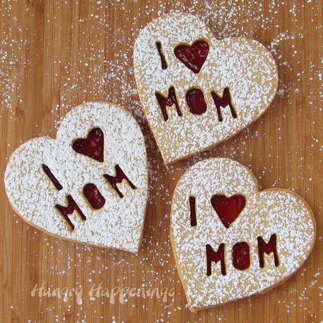 Raspberry Linzer Cookie Hearts for Mom | HungryHappenings.com