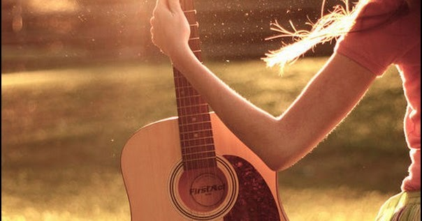 Girl Guitar Hand Sunset Cute