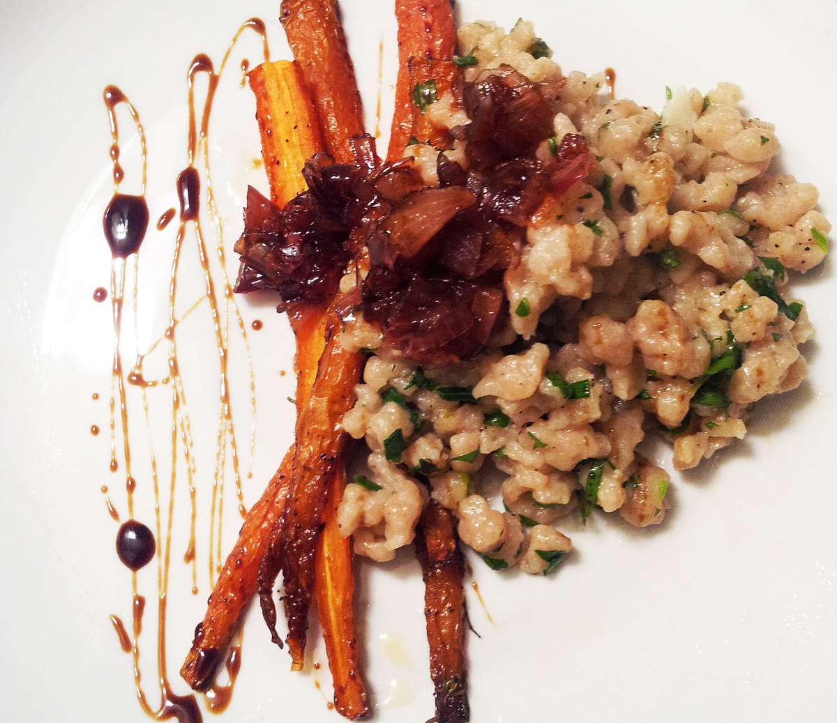... Hatred of Meat: Herb Spaetzle with Shallot Marmalade & Roasted Carrots