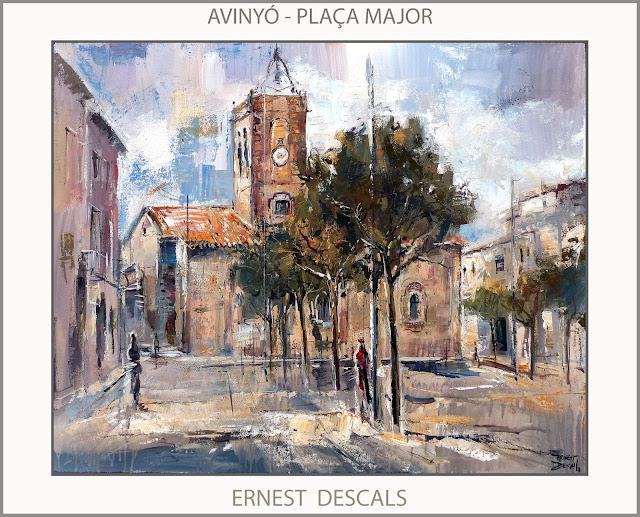 AVINYÓ-PINTURA-PLAÇA MAJOR-ESGLESIA-PAISATGES-CATALUNYA-PINTURES-ARTISTA-PINTOR-ERNEST DESCALS-