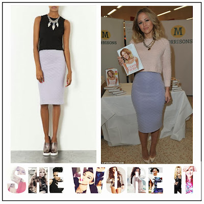 Kimberly Walsh, Topshop, Grey, Lilac Flat, Quilted, Fitted, Pencil Skirt, Tube Skirt