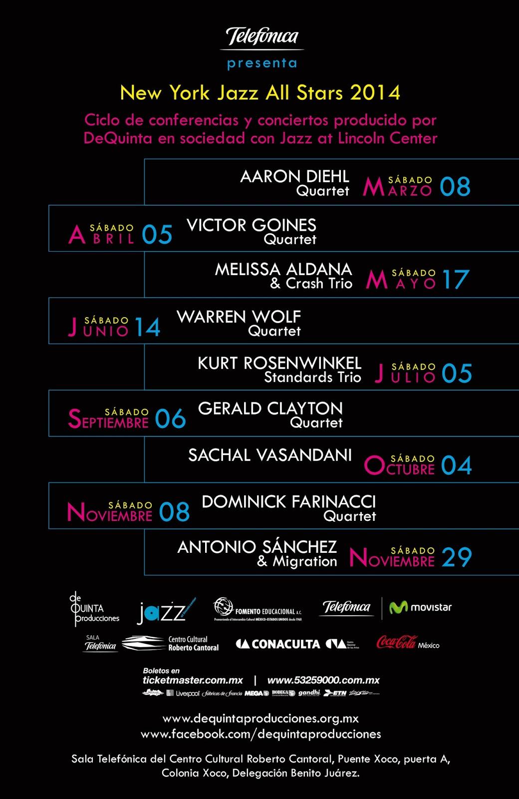 """Ciclo 2014 """"New York Jazz All Stars"""" en el Centro Cultural Roberto Cantoral"""
