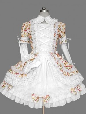 Sweet Printed Lace and Bow Rococo Lolita Dress
