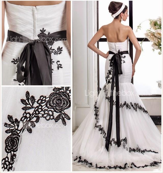 Vestido de Novia Sirena con Cinturon y Flores Negras
