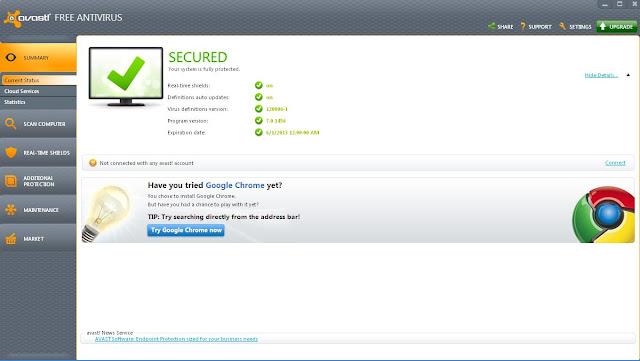 Avast Antivirus Application Window
