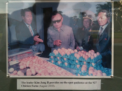 Photo at North Korean Embassy, Phnom Penh, Cambodia: The Leader Kim Jong Il provides on-the-spot guidance at 927 Chicken Farm