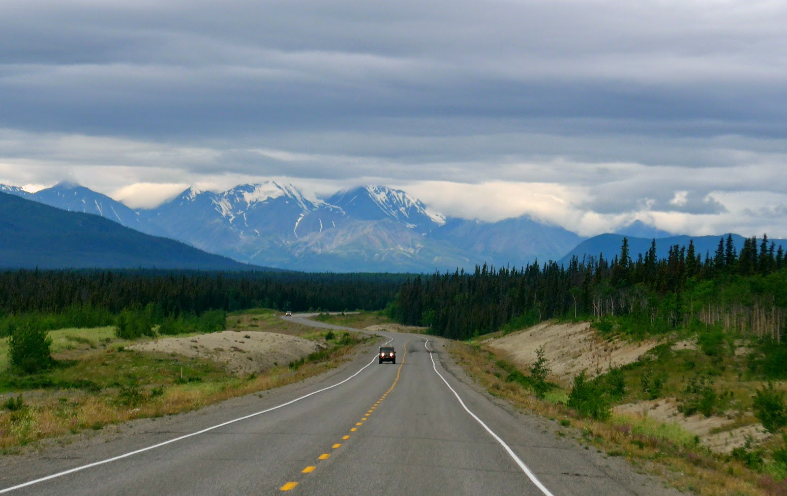 Westbound Alaska Highway. West of Whitehorse, Yukon.