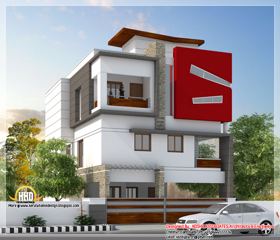3100 square feet, 4 bedroom, 3 storey Tamilnadu villa design