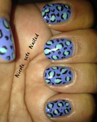 Periwinkle Blue Leopard Print Nails