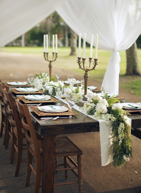 Wedding Talk Table Runners Instead Of Centerpieces