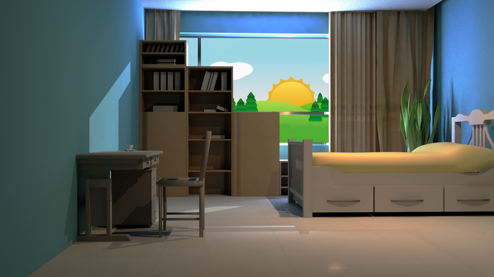 3d world animation cartoon interior