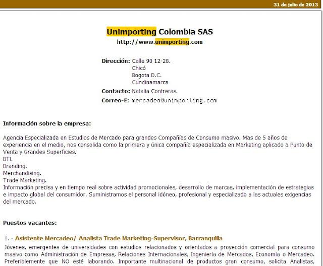 Aquí algunas de las ofertas de empleo que hace Unimporting SAS