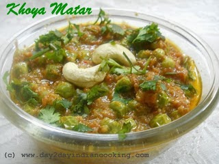 recipe of reduced milk and peas, indian festive gravy dish