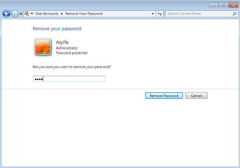 menghapus password di windows