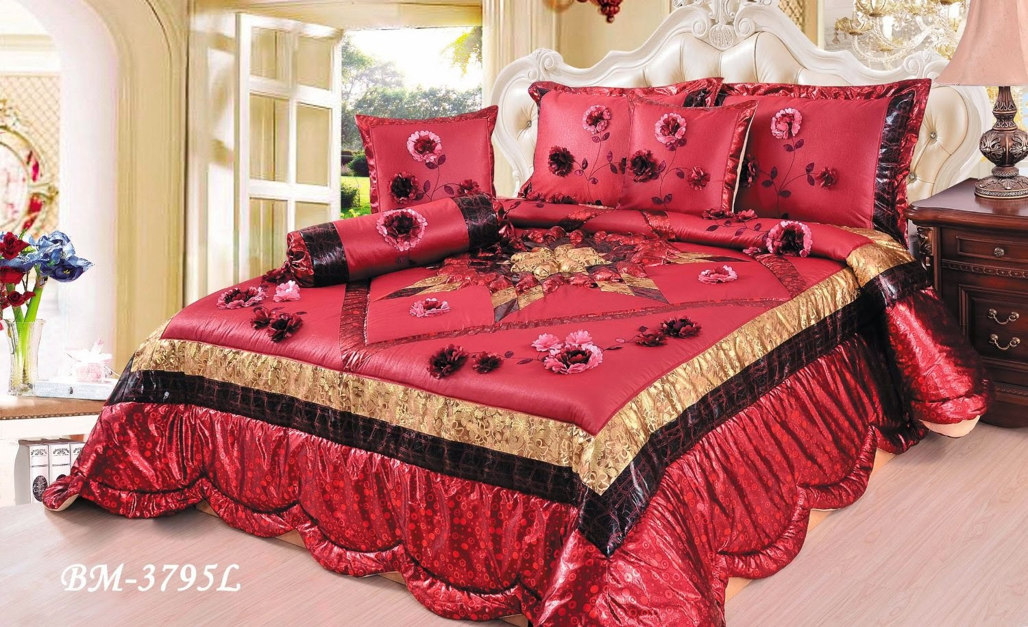 Buy best and beautiful bedding sets on sale black and maroon bedding sets for Beautiful bedroom comforter sets