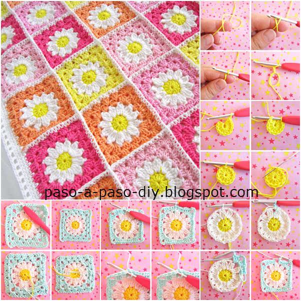 Aprende a tejer un square crochet con centro de flor