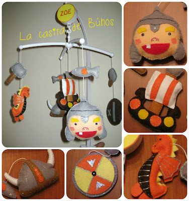 Movil cuna vikingos - Felt crib mobile vikings