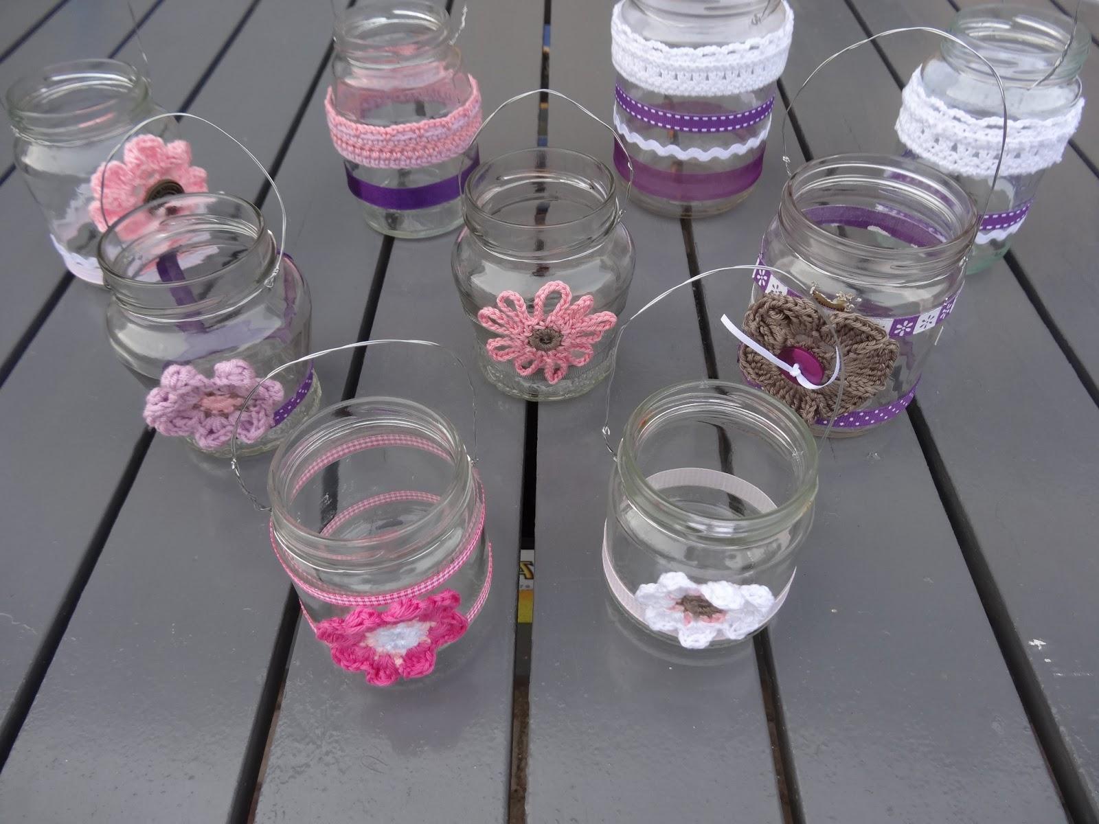 Blauw ruitje versierde glazenpotjes for Decoratie zomer