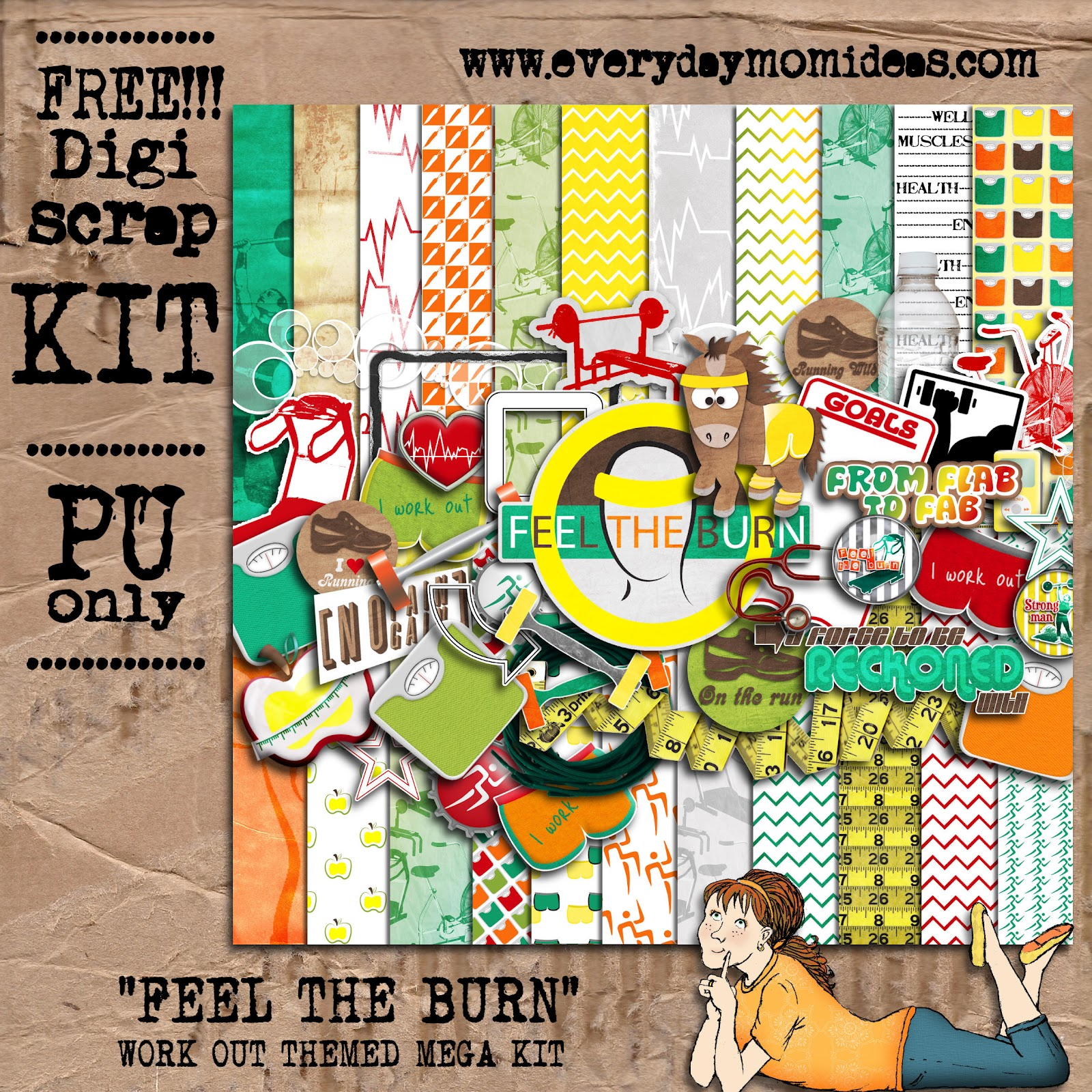 Digital scrapbooking kits free all about scrapbooking ideas -  Feel The Burn Free Digital Scrapbooking Mega Kit