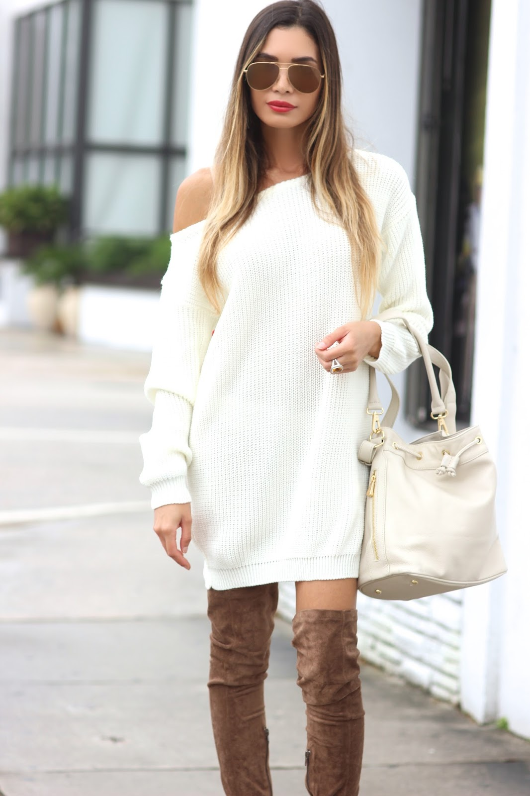 Jasmine Tosh Lately Sweater Dress X Thigh High Boots Weather