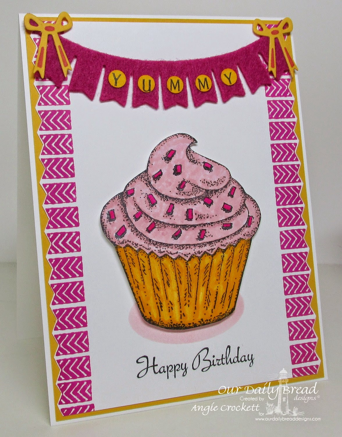 ODBD Cupcake Single, Smell the Roses (sentiment), Pennant Swag Alphabet, ODBD Pennat Swag Die, Card Designer Angie Crockett