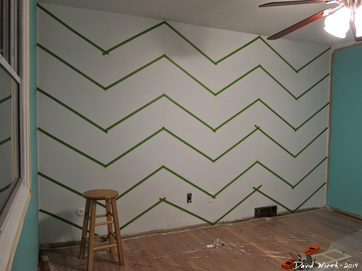 how to paint a zig zag wall, chevron, easy design