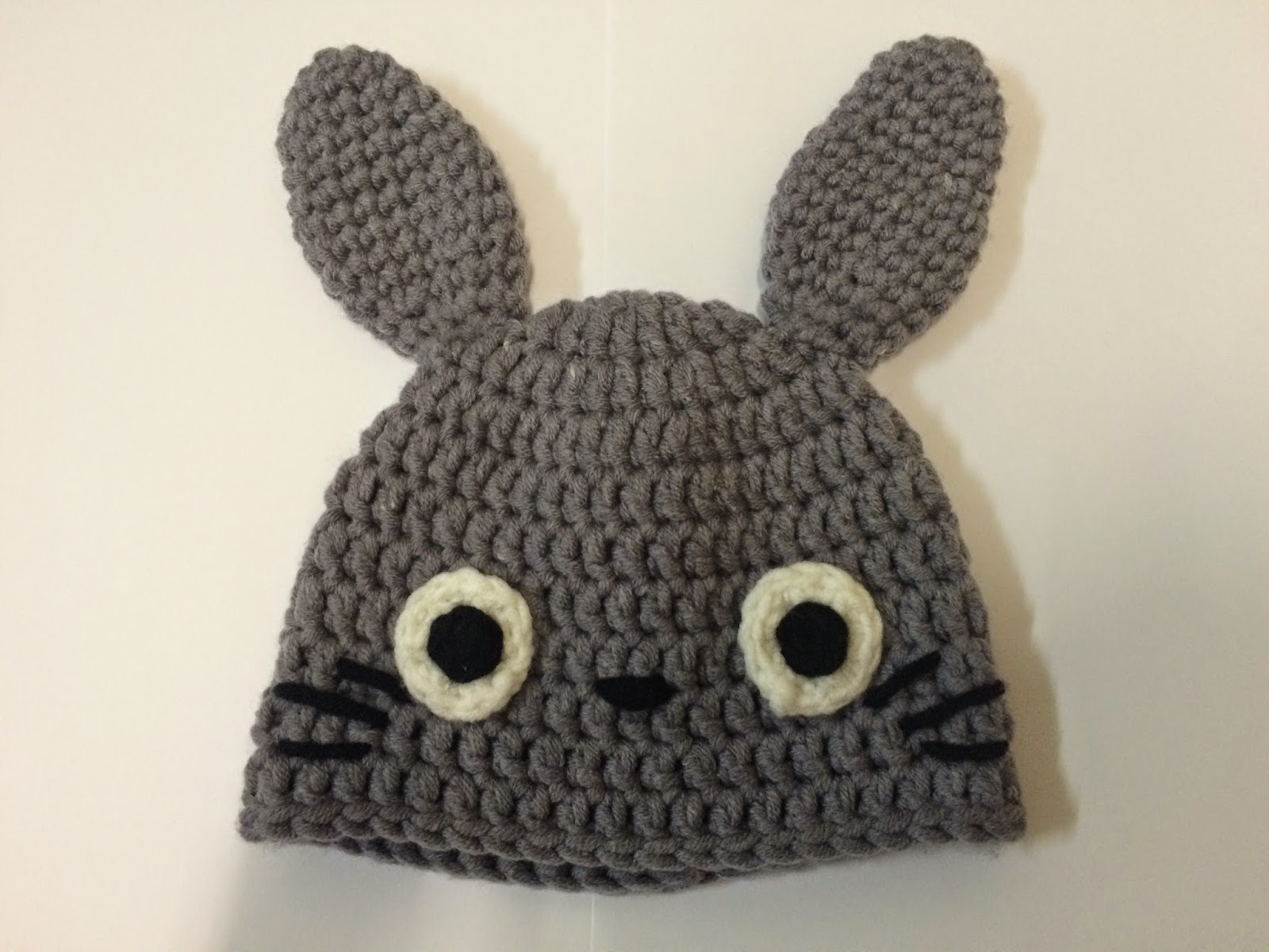 Drunk with caffeine crochet pattern totoro beanie for babies it looks like this when flatten well i dont have a baby at home here so i just stuffed it with some yarn to show how it looked when its a bit occupied dt1010fo