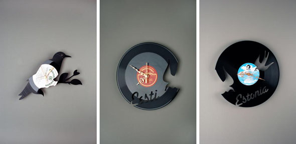 and creative wall clock named u201cre vinylu201d is made of old vinyl records all the silhouettes of the collection u201cre vinylu201d are simple and well recognized