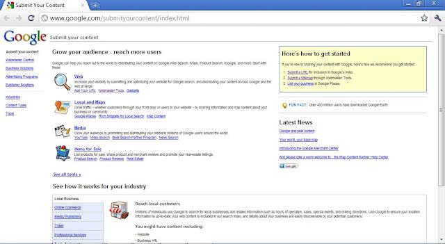 Cara Mempercepat Index Google - Submit Content ke Google