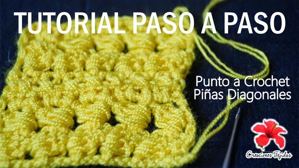 #T28 Puntada de Crochet Piñas Diagonales